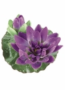 1 Dozen - 4 inch Artificial Floating Lotus With Waterdrop 1 Flower & 1 Bud in Purple