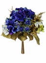 "11.5"" Artificial Wedding Hydrangea Silk Flower Bouquet - Set of 12 (shown in blue)"