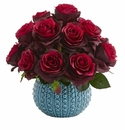 11.5�� Rose Artificial Arrangement in Blue Ceramic Vase - Burgundy