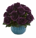 11.5�� Rose Artificial Arrangement in Blue Ceramic Vase - Purple Elegance