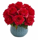 11.5�� Rose Artificial Arrangement in Blue Ceramic Vase - Red