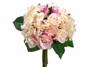 "11"" Artificial Rose and Hydrangea Flower Bouquet  - Set of 6"