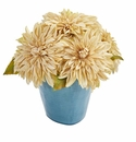 11�� Dahlia Artificial Arrangement in Blue Ceramic Vase - Cream