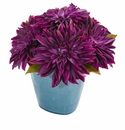 11�� Dahlia Artificial Arrangement in Blue Ceramic Vase - Purple