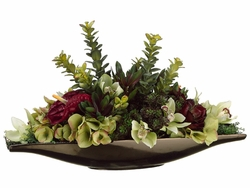 "12"" Artificial Anthurium, Silk Hydrangea Flowers and Jade in Ceramic Vase"