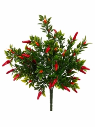 "12"" Artificial Chili Pepper Bush - Set of 24"