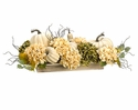 "12"" Artificial Pumpkin, Silk Hydrangea Centerpiece Arrangement in Wood Pot"