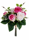 "12"" Artificial Silk Rose Bush Wedding Bouquet Arrangement - Set of 12 (shown in Cerise Blush)"