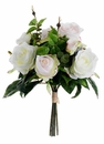 "12"" Artificial Silk Rose Bush Wedding Bouquet Arrangement - Set of 12"