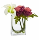 12�� Calla Lily and Artichoke in Rectangular Glass Vase Artificial Arrangement - White Mauve