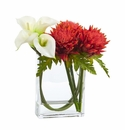 12�� Calla Lily and Artichoke in Rectangular Glass Vase Artificial Arrangement - White Orange