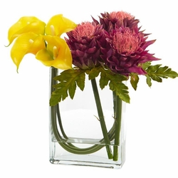 12 calla lily and artichoke in rectangular glass vase artificial 12 calla lily and artichoke in rectangular glass vase artificial arrangement yellow mauve mightylinksfo