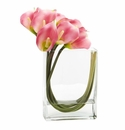 12�� Calla Lily in Rectangular Glass Vase Artificial Arrangement - Pink
