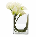 12�� Calla Lily in Rectangular Glass Vase Artificial Arrangement - White