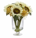 12� Sunflower & Sedum Artificial Arrangement in Vase