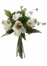 "13"" Artificial Silk Anemone Flowers and Viburnum Berry Bouquet - Set of 6 (Shown in White)"