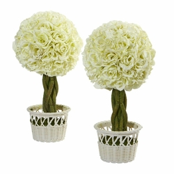 "13"" Rose Topiary in White Pot Artificial Plant (Set of 2)"