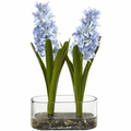 14� Double Hyacinth in Vase Artificial Arrangement - Blue