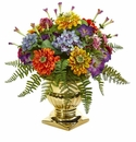 14�� Mixed Floral Artificial Arrangement in Gold Urn -