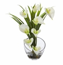 15.5� Calla Lily and Grass Artificial Arrangement in Vase - Cream
