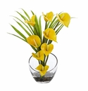 15.5� Calla Lily and Grass Artificial Arrangement in Vase - Yellow