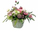 "15"" Artificial Hydrangea, Ranunculus and Rose Flower Arrangement in Ceramic Pot"