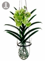 "15"" Artificial Vanda Orchid Hanging Plant in Glass Vase"