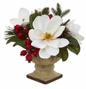 15� Magnolia Flower, Pine and Berries Artificial Arrangement