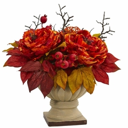 "15"" Peony and Sedum Artificial Flower Arrangement"