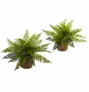 15� Artificial Ruffle Fern Bush Plant in Burlap Base Conatiners -Set of 2