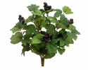 "16"" All Season Artificial Grape Leaf Bush with Grapes - Set of 12"