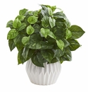 16�� Pothos Artificial Plant in White Ceramic Vase -
