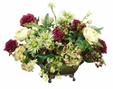 "17"" Artificial Ranunculus, Roses, Mums and Berries Arrangement in Square Bowl"