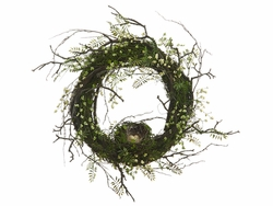 "18"" Artificial Mini Fern/Berry Wreath with Birdnest-Set of 2"