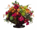 """18"""" Artificial Vanda Orchid, Lily Flower and Agave Arrangement in Bowl"""