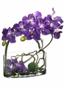 "18"" Artificial Vanda Orchid, Twig and Moss Ball Flower Arrangement in Glass Vase"