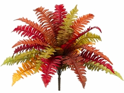 """19"""" Artificial Boston Fern with 18 Autumn Fronds - Set of 6"""