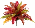 "19"" Artificial Boston Fern with 18 Autumn Fronds - Set of 6"