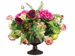 """19"""" Peony Flowers, Silk Roses and Artificial Apple Arrangement in Urn with Handle"""