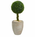 2.5� Boxwood Ball Topiary Artificial Tree in Sand Colored Oval Planter UV Resistant (Indoor/Outdoor) -