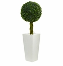 2.5� Boxwood Ball Topiary Artificial Tree in White Tower Planter UV Resistant (Indoor/Outdoor) -