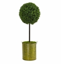 2.5� Boxwood Topiary Artificial Tree in Green Tin UV Resistant (Indoor/Outdoor) -
