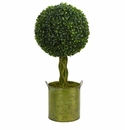 2� Boxwood Ball Topiary Artificial Tree in Green Tin UV Resistant (Indoor/Outdoor) -