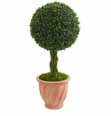 2� Boxwood Ball Topiary Artificial Tree in Terracotta Planter UV Resistant (Indoor/Outdoor) -