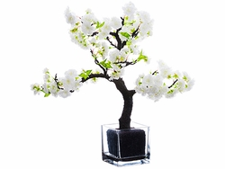 20'' Artificial Cherry Blossom Bonsai in Glass Vase