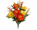 "20"" Artificial Zinnia Flower and Bell Flower Bush with 12 flowers - Set of 12 (shown in Yellow-Orange)"