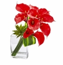 20�� Calla Lily & Succulent Bouquet Artificial Arrangement - Red