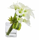 20�� Calla Lily & Succulent Bouquet Artificial Arrangement - White