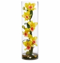 20�� Cattleya Orchid Artificial Floral Arrangement in Cylinder Vase - Yellow