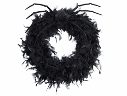 """20"""" Feather Wreath and Spider with Hanger - Set of 3 - Halloween"""